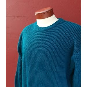 Vintage Unisex Chunky Knit Dad Sweater Fall Teal